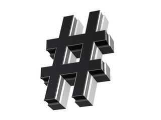 Hashtag sign - steel and carbon extruded symbol isolated on white background