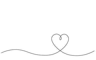 Heart background one line drawing, vector illustration.