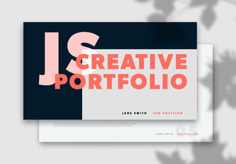 Web Portfolio Layout with Pink and Red Accents