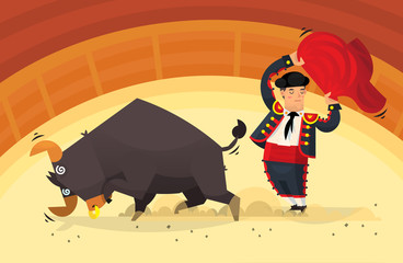 Man holding red cloth showing tricks with an angry bull on arena. Vector illustration
