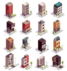 Isometric Town Houses Set