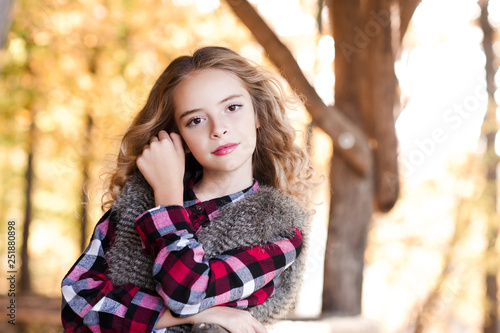 Beautiful Blonde Girl 14 15 Year Old Posing Over Nature Background