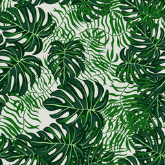 Green Tropical Leaves Seamless Pattern.Tropical background with leaves.