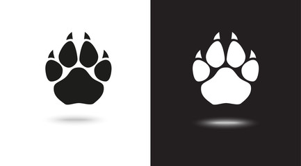 paw vector icons on black and white background