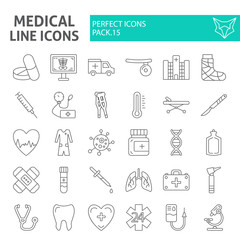 Medical thin line icon set, hospital symbols collection, vector sketches, logo illustrations, medicine signs linear pictograms package isolated on white background.