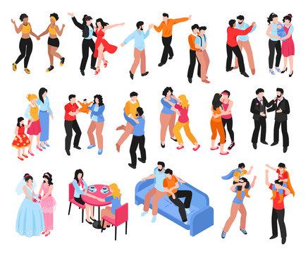 Homosexual Families Isometric Icons Set