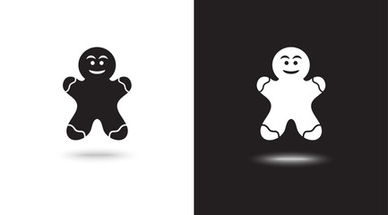 vector icon christmas cookies on black and white background