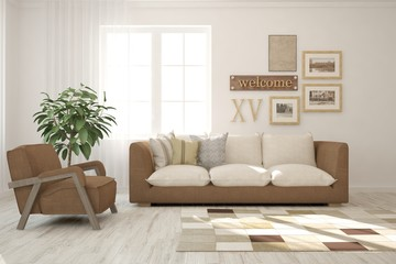White stylish minimalist room with brown sofa. Scandinavian interior design. 3D illustration