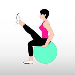 Beautiful young woman doing exercises with ball at home. Girl exercising fitness training. Vector flat illustration.