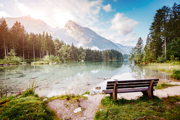 Wall Mural - Famous tourist attraction of calm lake Hintersee.