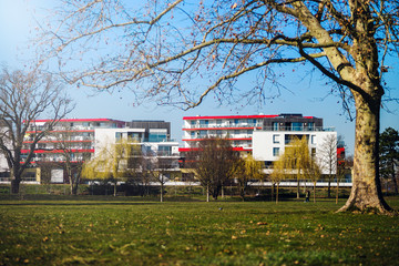 Panoramic view of new quarter in Strasbourg near Germany, sunny spring day