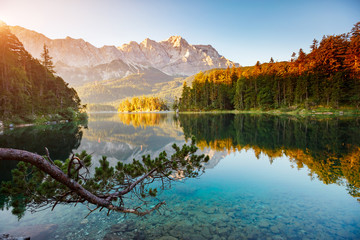 Scenic surroundings near famous lake Eibsee.