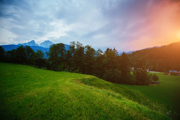 Wall Mural - The countryside in twilight. Location place Berchtesgaden land.
