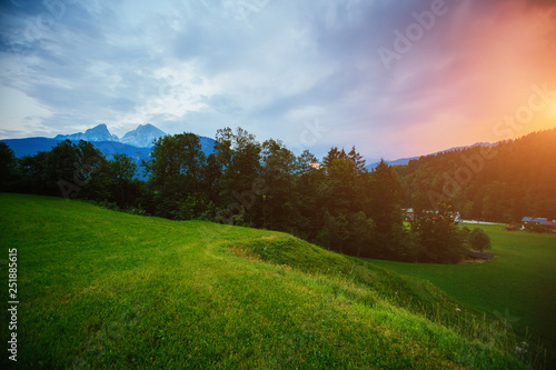 Wall mural The countryside in twilight. Location place Berchtesgaden land.