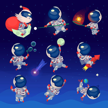 Set of cute astronauts in space, working playing games and having fun. Astronauts in space suits with no gravity.