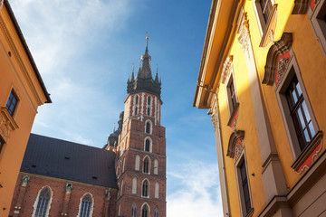 Fototapete - Fantastic view of the ancient city Krakow on a sunny day.