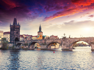 Fototapete - Stunning image of Charles bridge in Prague.