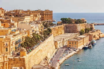 Fototapete - Stunning image of the Grand Harbour, ancient city Valletta.