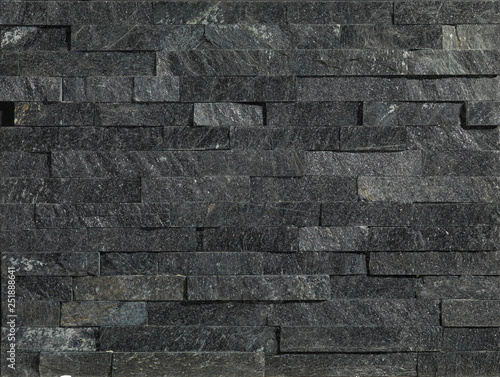 Black Stone Wall Panels With Rough Surface Texture Background Black