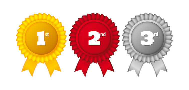 1st, 2nd, 3rd place ribbon custom award ribbons. Winner Rosette Set with Ribbons