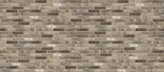Old dirty pale red and grey shabby brick wall texture background. Horizontal panoramic picture of...