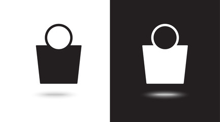 shopping bag - Vector icon on black and white background