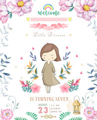 Happy Birthday Card with cute little Princess and pink flowers and flower. Beauty design card for celebration, invite on white background