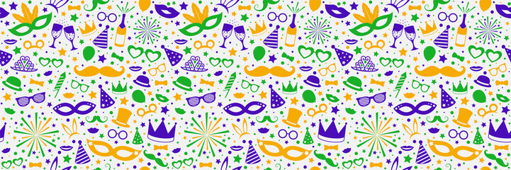 Photobooth, birthday or carnival party background with funny elements. Vector