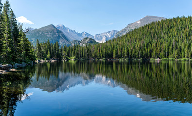 Wall Murals Mountains Longs Peak at Bear Lake - Longs Peak and Glacier Gorge reflecting in blue Bear Lake on a calm Summer morning, Rocky Mountain National Park, Colorado, USA.