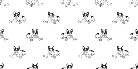Dog seamless pattern french bulldog vector scarf isolated puppy cartoon repeat background tile wallpaper illustration