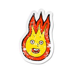 retro distressed sticker of a cartoon friendly fireball