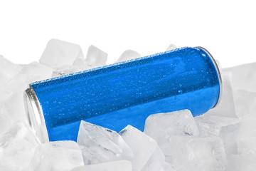 Foto op Plexiglas Stadion Blank metal blue can on ice cubes against white background. Mock up for design