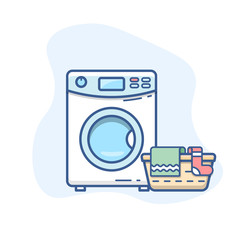 Washing machine with laundry basket vector line icon. Washer with dirty clothes outline illustration.