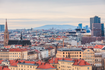 View from above over Vienna cityscape with mountain range in the background