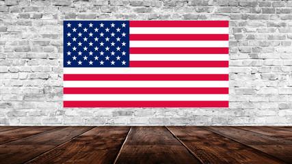 American flag on old brick wall. National Day USA.