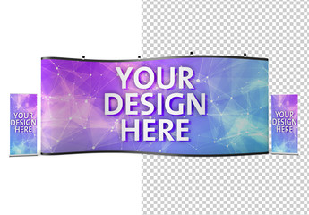 Large Horizontal Stand with 2 Vertical Banners Mockup