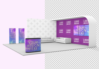 Exhibition Stand with Sofas Mockup