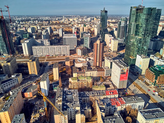 Beautiful panoramic aerial drone view to panorama cityscape of Warsaw modern City,