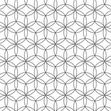 Flower of Life Seamless Vector Sacred Geometry Patterns For Layer Masks Black