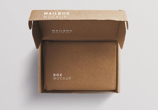 Open Cardboard Mailing Box Mockup
