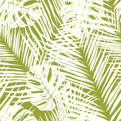 Foto op Canvas Tropische Bladeren Cute green tropical leaves seamless pattern design