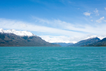 Navigation on Argentino lake, Patagonia landscape, Argentina