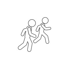 Running with a friend icon. Simple thin line, outline vector of Friendship icons for UI and UX, website or mobile application