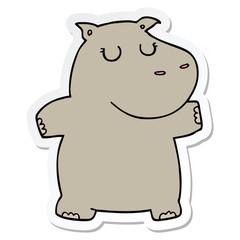 sticker of a cartoon hippo