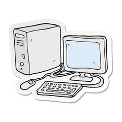 sticker of a cartoon computer