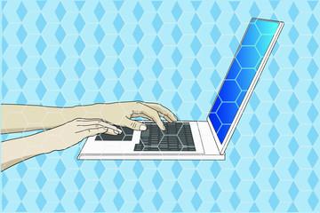 Manos tecleando en un ordenador portátil
