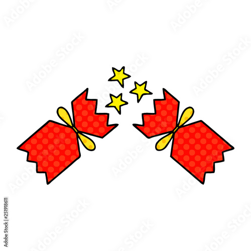 Christmas Cracker Vector.Comic Book Style Cartoon Christmas Cracker Stock Image And