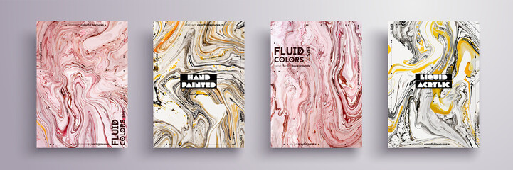 Abstract painting, can be used as a trendy background for wallpaper, poster, invitation, cover and presentation. Fluid art. Liquid marble texture with mixed of acrylic yellow, pink, black paints