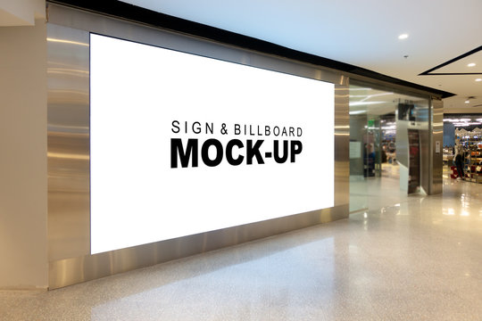 Mock up large billboard at corridor in shopping mall