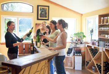 Women friends having fun wine tasting in winery tasting room